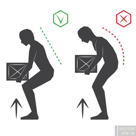 Black man silhouette correct back position, vector illustration right person posture