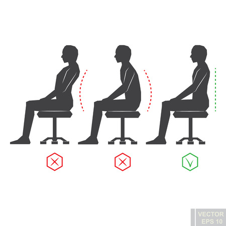proper: Black correct back position, black man silhouette vector illustration right person posture eps10