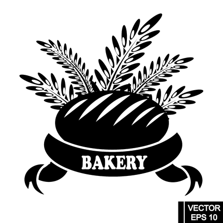 Bakery products label. Vector icon of  bread bun bagel, wheat ears, ribbon with text. Element for bakery shop, bread emblem,logo design, etc.