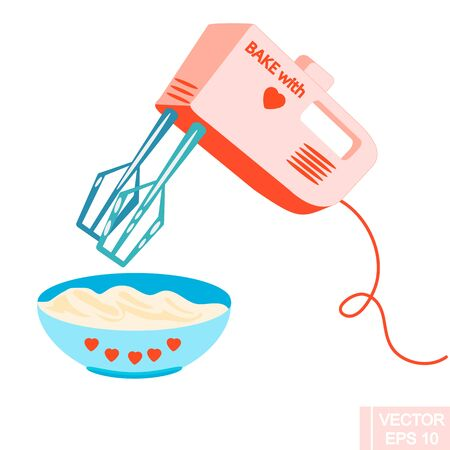 Vector electronic hand mixer with a bowl of cream.  kitchenware, cooking utensil.isolated illustration on white background.