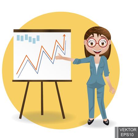 Business WOMAN next chart board. Indicates. Explains. Conducts Successful girl lecture. For your design. Illusztráció