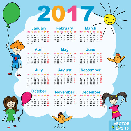 Childrens Calendar. Cheerful. New Year. 2017. Date. For your design.