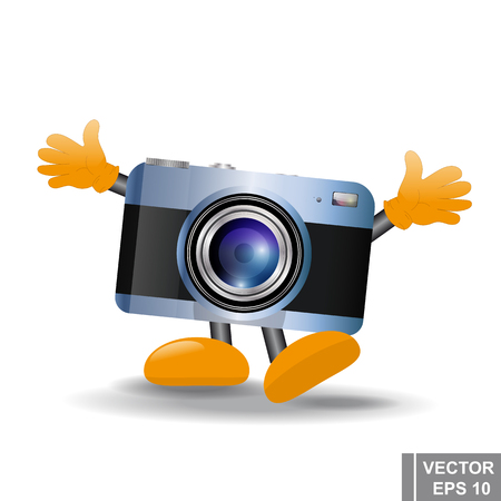 Cartoon funny camera with hands and feet on isolated background. Illustration
