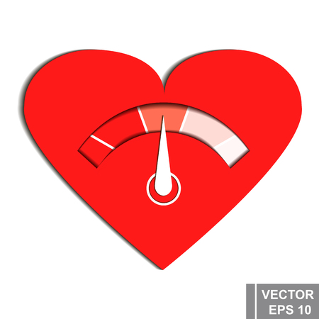 Thermometer. Measurement of love. Valentines Day. Isolated on white background.