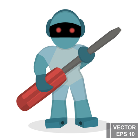 collect: Robot with a screwdriver. Working. Simple flat illustration. For your design.