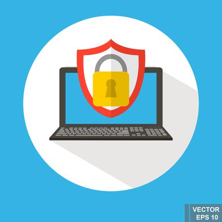 Computer protection. Blocking. Antivirus. Modern technologies. Icon vector illustration