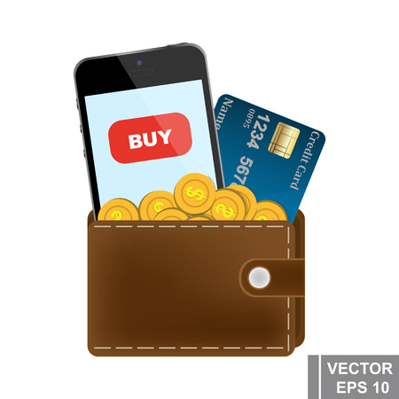 A leather purse full of money. Smartphone. Credit card. Online purchase. vector illustration