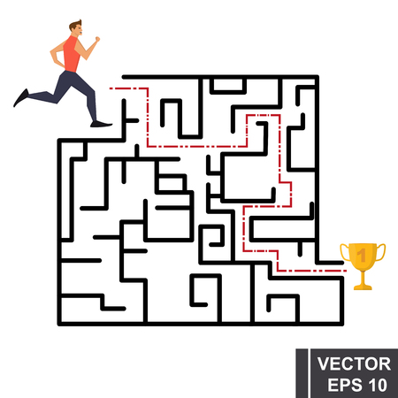 Labyrinth. The athlete runs to the gold cup. Isolated on white background. Illustration