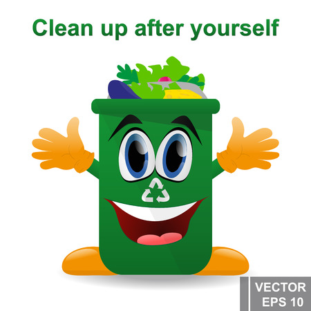 Disposal garbage bin cartoon design