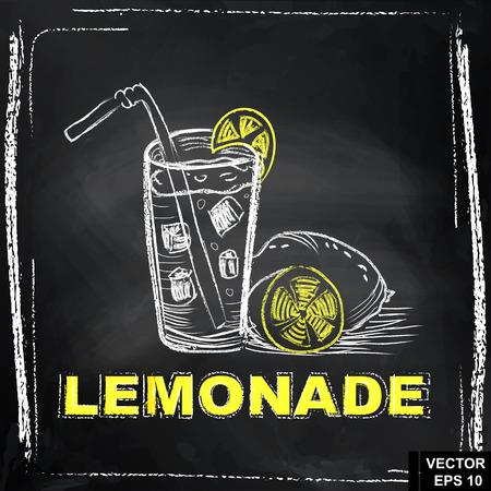Lemonade drink chalk drawing Illustration