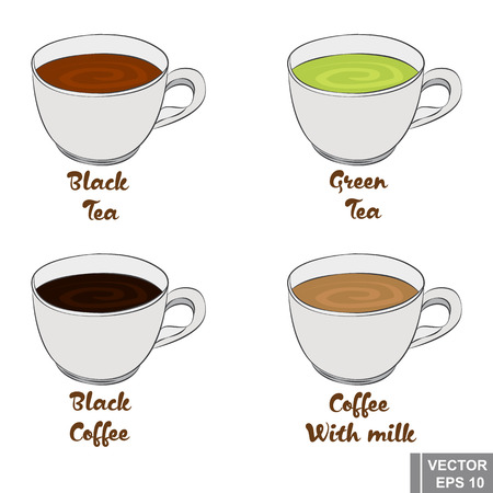 sugar cube: Cup. Set cartoon. Black and green tea. And black coffee with milk. Hot refreshing drinks.