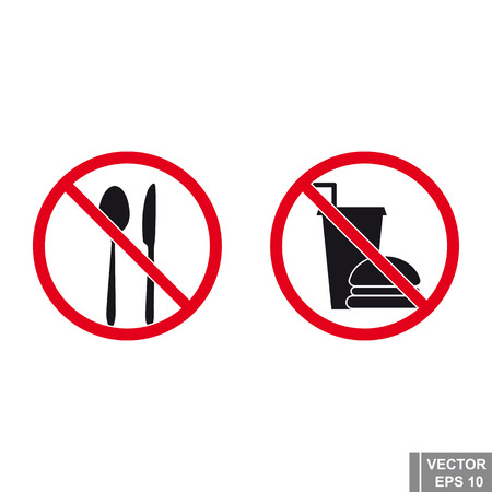 Sign of prohibition. Food. Icon. Forbidden. Stop.