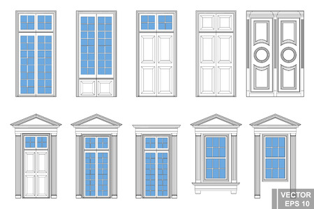 A set of classic doors. Circuit. Interior. Isolated on a blue background. Çizim