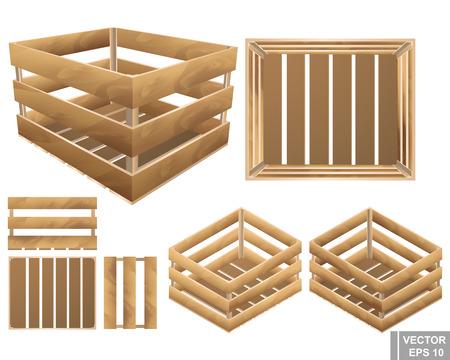 ensemble de boîte en bois pour les fruits et les plantes. texture . isolé sur fond blanc