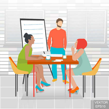 Working in the office. A business meeting. A successful deal. Discussion. Concept of success. For your design. Illustration