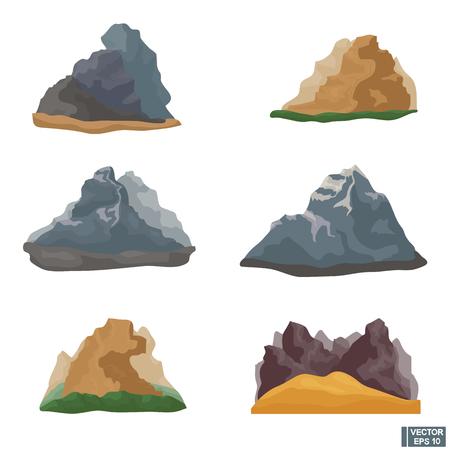 Vector image. Mountains set. Rocky landscapes. High mountains. Flat design
