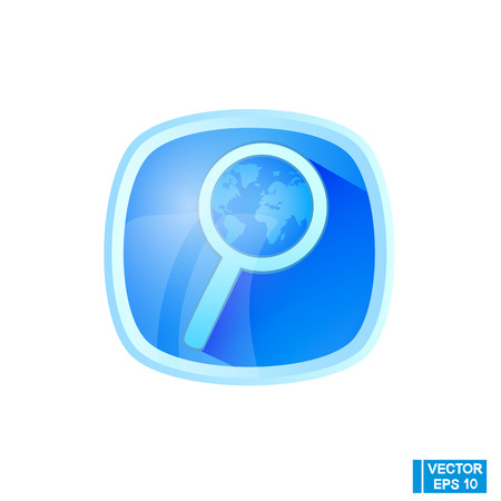 Vector image. Oblimate search icon. Isolated object magnifying glass.