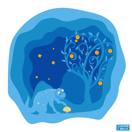 collect: Vector illustration. Cute blue monster and mushroom. A beautiful paper sectional postcard. Blue night landscape with stars.