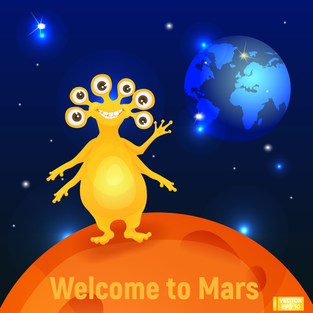 A funny alien on Mars waving his hand