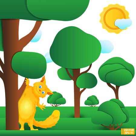 手を振ってかわいい赤狐