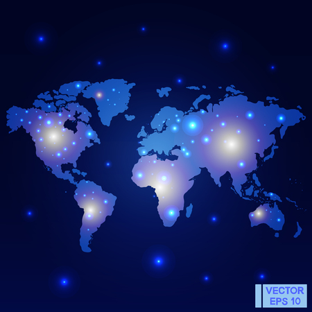 Vector image. World map. Night lights on the map. Glowing marks on a dark blue background Vettoriali