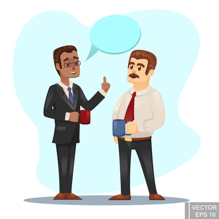 Vector cartoon Illustration of two businessmen discussing business strategy conversation between coworkers buring coffee break