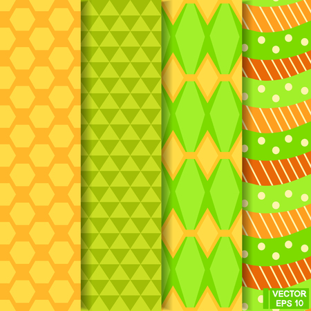 tile: Vector image. A set of geometric backgrounds. Seamless colored patterns. Illustration