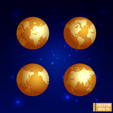 Vector image. The Golden Globe. Planet against the background of space and stars. Precious planet