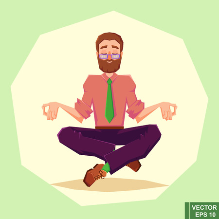 nirvana: businessman meditates in lotus position. Harmony, relax, spiritual energy. vector illustration in cartoon style. flat illustration. eps10 Illustration