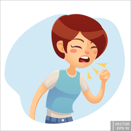 Sick woman Vector cartoon illustration