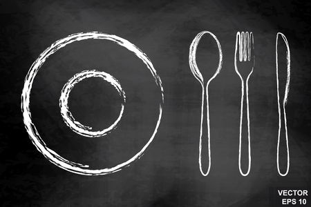 Cutlery, spoon, fork, knife on the chalkboard. Drawing. Hatch. Dark. For your design.