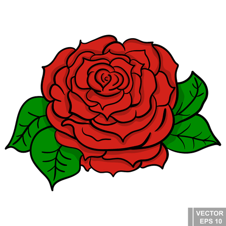 rose tattoo: Flower. rose flower. manual drawing. Circuit. Plant. For your design.