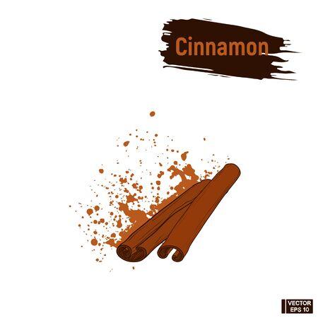 Vector image. Sketch sticks cinnamon, imitation of ink, blots and splashes.