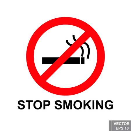 smoldering: Icon. Sign. Stop smoking. Ban. For your design.
