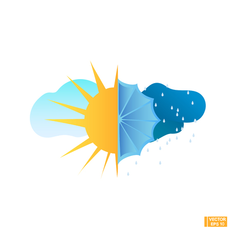 Vector image. Sunny and cloudy weather icon. The sun and the umbrella.