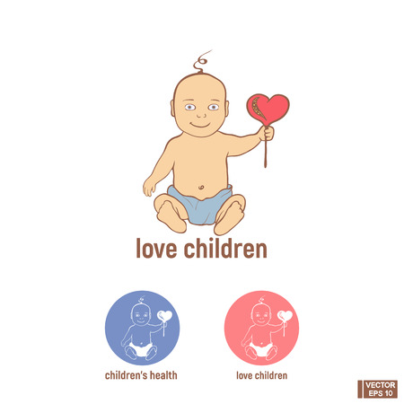 Vector image. A cute baby in a diaper with a rattle. Icon of the love children, childrens health. Illustration