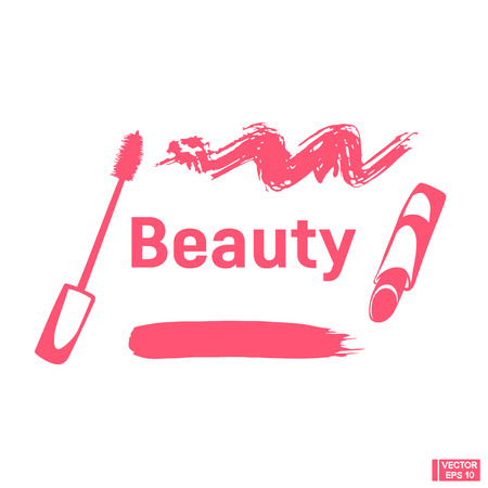 Lipstick and mascara in pink color