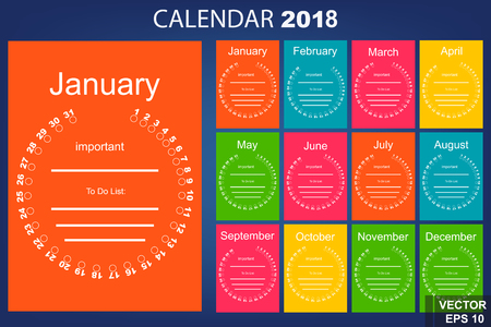 farting: The calendar. New Year. 2018. Date. Round. For your design.