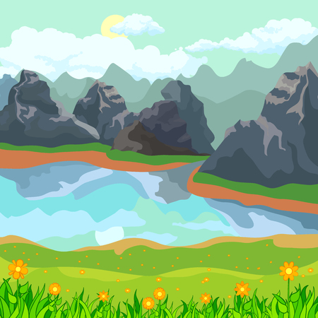 A lake in the mountains and a meadow with flowers. Summer landscape. Rocky landscapes