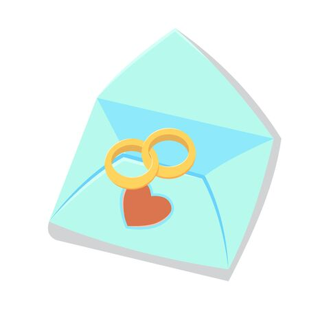 Wedding ring. Greeting card in the envelope, with heart. cartoon illustration.