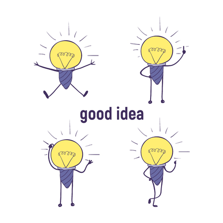 A cartoon lamp with handles and legs set. A cute little light bulb icon of emotions, thinks, invented, rejoices, approves, thumbs up. Good idea.