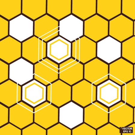 Abstract background of yellow hexagons. Orange honeycombs illustration. Illustration