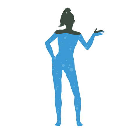 A cartoon picture of water in the human body. Silhouette of man filled with liquid Stock Photo