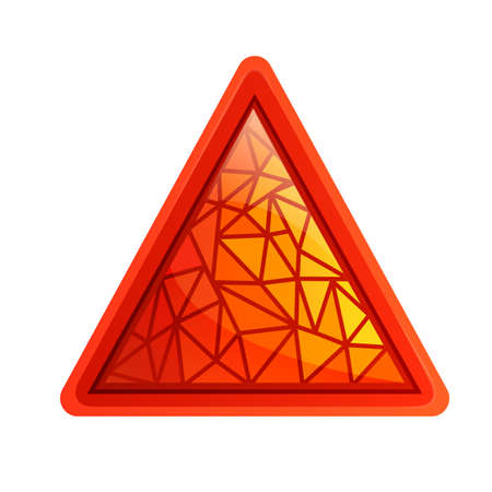 The polygonal triangle icon is red. Object isolated on white background.