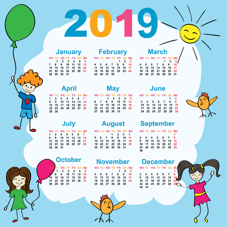 The calendar. New Year. 2019. Date. For your design. Stock Photo