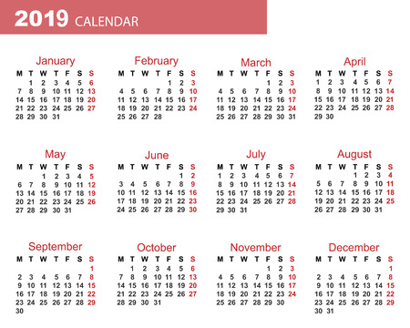 the calendar new year 2019 date for your design stock photo