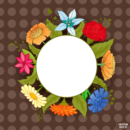 Vector image. Frame with bright colored flowers on a brown background. Red carnation, blue cornflower, chamomile, orange gerbera. Illustration