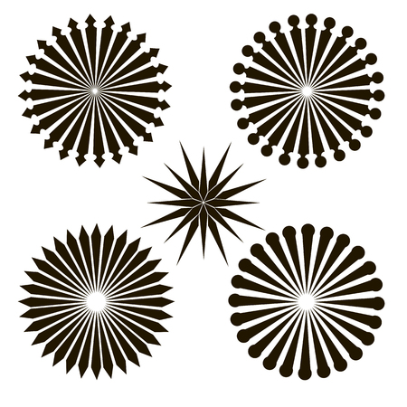 A set of radial patterns. Abstract geometric shapes. Rays, beams element.