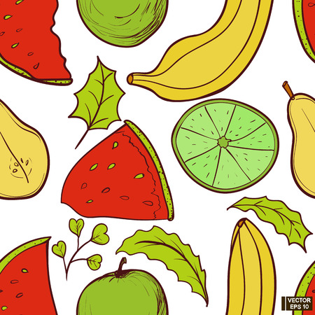 Vector image. Seamless color pattern with fruits. Ripe banana, watermelon, apple and pear hand-drawn Illustration