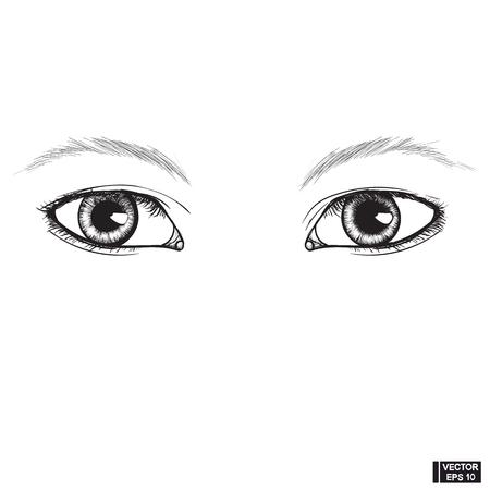 Immagine vettoriale. Due bellissimi occhi femminili in attesa. Schizzo di un occhio disegnato a mano con inchiostro